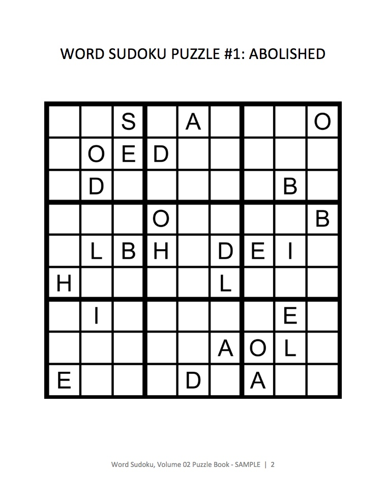 Word Sudoku Sample Page